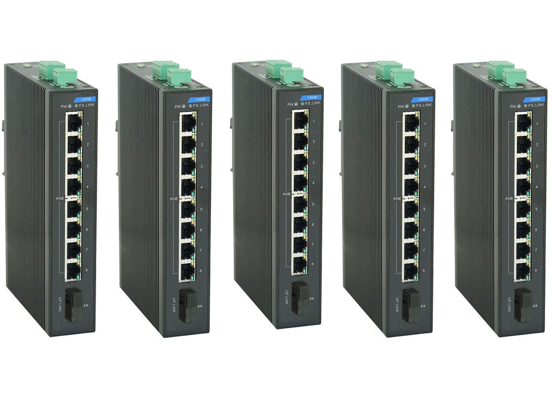 15.4 Watts per port Industrial POE Switch 8 megabit TX POE with 1 megabit FX port Unmanaged Ethernet Switch